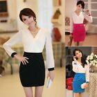 Women Chiffon Long Sleeve High Waist Slim Mini Party Career Office Sheath Dress