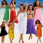 Women New Beach Strapless Multi-Way Bikini Cover Up Wrap Tube Dress Sarong Pareo