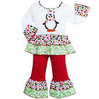 AnnLoren Girls Christmas Penguin Shirt & Pants Holiday Outfit 6/9m-9/10
