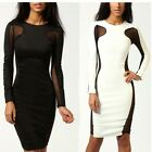 Women Party Club Bandage Mesh Cut Out Color Block Long Sleeve Midi Bodycon Dress