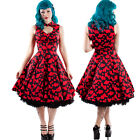 Hearts & Roses Black and Red Valentina Dress Heart Cutout 50's Swing