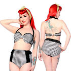 Banned Clothing Black White Gingham Retro Swimsuit Vintage High Waisted