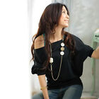 New Women's Fashion Casual Short Sleeve Batwing Shirts Loose Tops Blouses M L XL