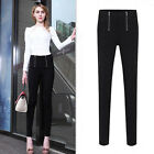 Hot Womens Vintage Career High Waist Slim Zip Pencil Pants Long Trousers Legging