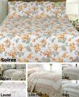 Quilted Floral Bedspread Throw Throwover Bedding Set Green Pink Blue 4 Sizes NEW
