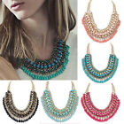 Womens Crystal Pendant Chain Chunky Statement Bib Necklace Charm Fashion Jewelry