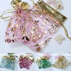 10pc 9x11cm Favour Organza Gift Bag Christmas Flower Rose Voile Jewelry Pouch