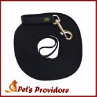 Tracking/training leash, black webbing long line, varying length and width leads
