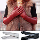 Fashion Women's Winter Warm Faux Leather Prom Party Long Gloves Lined New