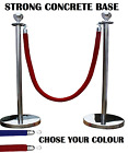 2 X SILVER QUEUE BARRIER POSTS SECURITY STANCHION DIVIDER STEEL SET PAIR  BAR-S