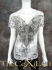 Womens VOCAL Shirt Short Sleeve See Through Burnout White with Crosses