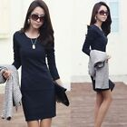 Fashion Sexy Women Elegant Sexy Long Sleeve Slim OL Casual Mini Dress
