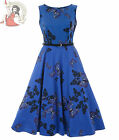 LADY VINTAGE 50's BUTTERFLY hepburn DRESS ROYAL BLUE