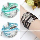 1X Infinity Cross BEST FRIEND Tag Owl PU Leather Suede Friendship Bracelet Gift
