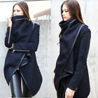NEW Women's Slim Winter Wool Blends Warm Zip PU Edge Coat Outerwear Long Jacket
