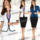Womens Elegant Colorblock Work Party Jacket Blazer Suit Bodycon Pencil Skirt 018