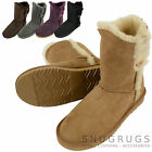 Ladies /Womens Genuine Sheepskin Boots Calf Length Button Design - Many colours