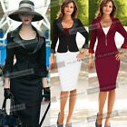 Womens Long Sleeve Slim Formal Work Business Pencil Skirt Suit Jacket Blazer 830
