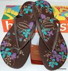 HAVAIANAS Genuine NEW Ladies Slim THONGS FLIP FLOPS Dark BROWN SEASONS Surf Logo