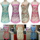 Flower Floral Bowknot Women Girls Cooking Front Pocket Apron Kitchen Cooking Bib