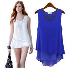 Women Summer Clothing Loose Casual Chiffon Sleeveless Vest Shirt Tops Blouses J