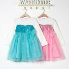 New Hot Frozen Cosply  Cotton Kids Girls Tops Bow Dress 2-9 Years