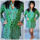 SOL DESIGNER TUNIC TOP or DRESS TURQUOISE GREEN PINK EMBROIDERED BOHO BEACHY $64