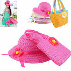 Lovely Kids Girls Children Straw Sun Hat Cap And Cute Straw Handbag Set