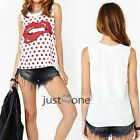 Womens Girl Red Dots Sexy Lips Sleeveless Vest T-shirt Casual Summer Tops Blouse