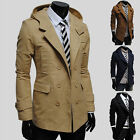 PJ Autumn New Mens Causal Slim Fit Double Breasted Hooded Coat Jacket Outerwear