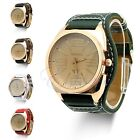 Luxury Chic Women Lady Unisex Gold Stainless Steel Quartz Leather Wrist Watch