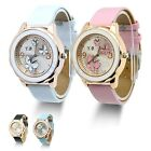 Fashion Butterfly Leather Bracelet Silver Dial Lady Women Girl Wrist Watch New
