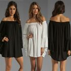 WOMENS BOHO LONG RUFFLE SLEEVE OFF SHOULDER MINI DRESS TUNIC SUMMER BEACH DRESS