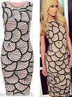 New Women's Ladies Celebrity Paris Hilton Glazed Sea Shell Print Bodycon Dress