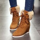 Winter Womens Lace Up Gorgeous Suede Fur Trim Hidden Wedge Pointed Ankle Boots