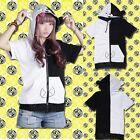 Women Unisex Costume Theater Clothes Short Sleeve T-Shirt Zip Up Hoody Size M/L