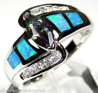 Rainbow Topaz and Blue Fire Opal Inlay 925 Sterling Silver Ring size 6, 8, 9
