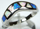 Multicolor Pink Blue White Fire Opal Inlay 925 Sterling Silver Band Ring 7-9