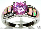 8mm Pink Topaz & Pink Fire Opal Inlay 925 Sterling Silver Ring size 6, 7, 8, 9