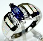 Tanzanite & White Fire Opal Inlay 925 Sterling Silver Solitaire Ring Size 7,8,9