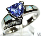 Trillion Cut Tanzanite & White Fire Opal Inlay 925 Sterling Silver Ring 6,7,8,9