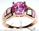 Rose Gold Plated Sterling Silver Pink Fire Opal Inlay & Topaz Ring size 6,7,8,9