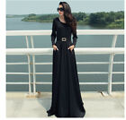 NEW BLACK WOMEN LONG SLEEVE FULL SWEEP MAXI DRESS SHEER LONG GOWN CRUISE