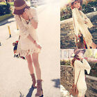Vogue Chic Boho Bell Sleeve Gypsy Festival Fringe Shirt Lace Vest Mini Dress