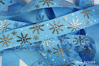Reel Chic Ribbon Collection Silver Snowflakes on Blue Grosgrain 22mm Wide RC024