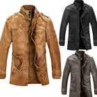 Retro Fashion Men Cowboys Winter Trench Coat PU Leather Motorcycle Jacket Parka