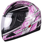 Tuzo Mach 1 Graphic Pink Motorcycle Helmet Full Face Scooter Crash Motorbike