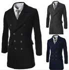 Mens Slim Double Breasted  Woolen Trench Coat Winter Warm Long Jacket Overcoat