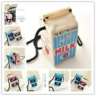 Newest Lady Girls Canvas Shoulder Bag Milk Cartons Crossbody Bag Messenger Bag H