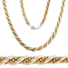925 Sterling Silver 14k Yellow Gold Twist Rope Bead Link ...